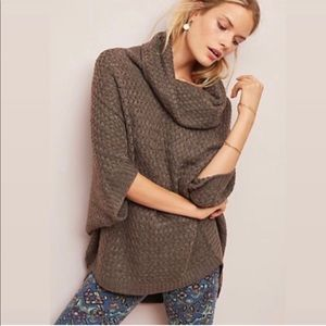 Anthropologie Moth Cowl Neck Poncho Sweater Brown